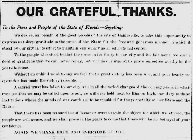 Our Greatful Thanks Gainesville Sun