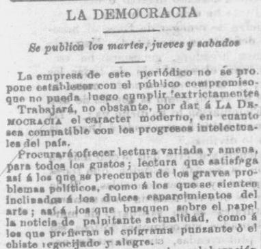 Snippet from La Democracia- July 14, 1891