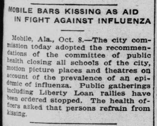 Mobile bans kissing