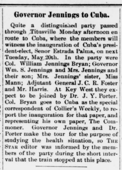 Governor Jennings to Cuba