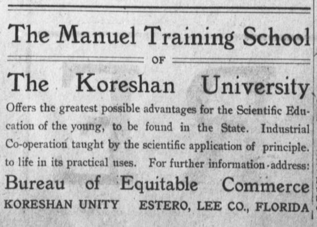 Koreshan University Ad